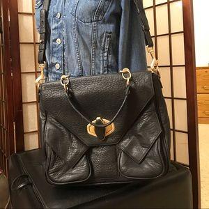 Alexis Hudson Black Genuine Leather purse w/strap